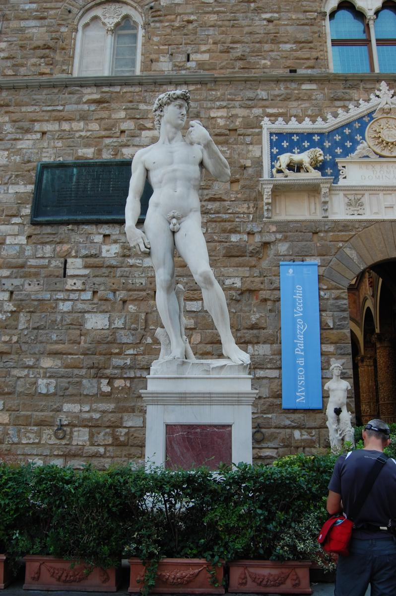 Firenze - Michelangelo&#39;s David (replica standing in the original location of David, in front of the Palazzo Vecchio)