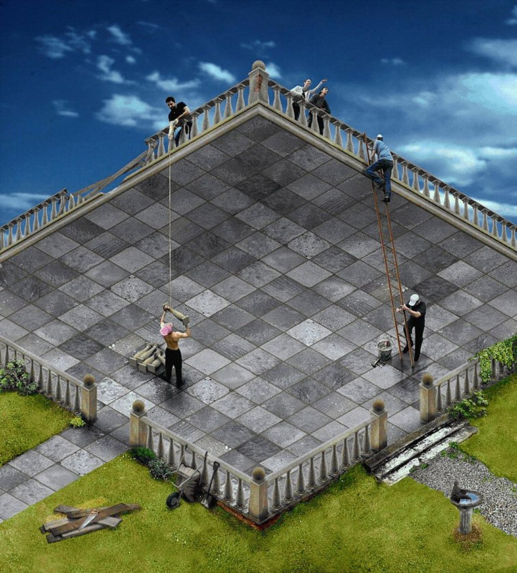 illusions terrace illusion paintings optical 3d painting building visual impossible escher rob gonsalves ilusion macdonald david cool paint brain eye