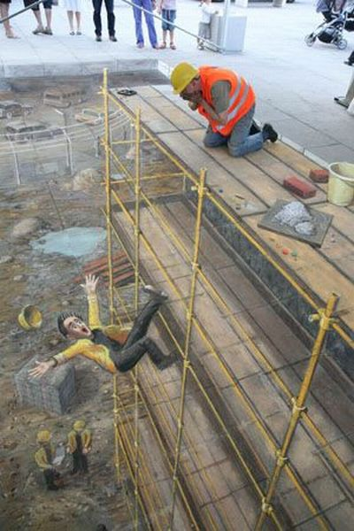 Sidewalk Chalk Art - Construction Site